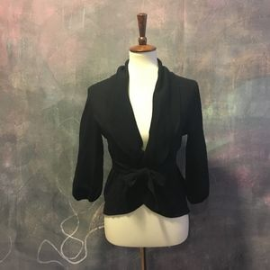 BCBG 3/4-Sleeve Black Cardigan Sweater w/ Tie